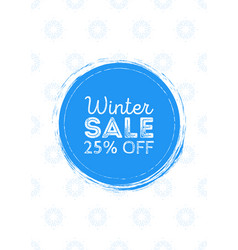 poster winter sale round blue background with vector image