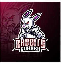 rabbit esport mascot logo design vector image