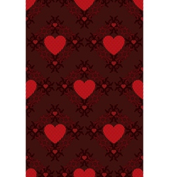Red hearts pattern on dark background vector image