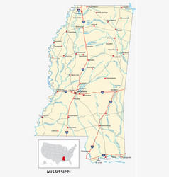 road map us american state mississippi vector image
