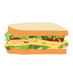 Sandwich with ham cheese tomatoes lettuce and vector