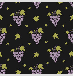 seamless pattern with grapes and leaves on simple vector image