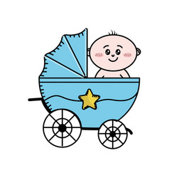 security stroller with baby child inside vector image