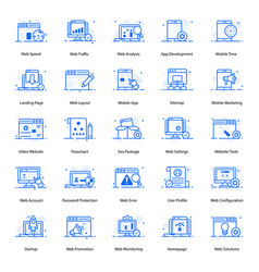 Seo and web flat icons pack vector