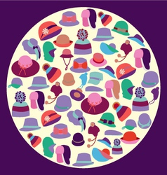 Set Fashion hats for men and women vector