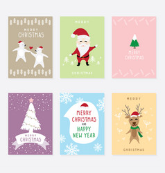 set graphic cartoon card about merry christ vector image