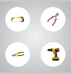 Set of instruments realistic symbols with hacksaw vector