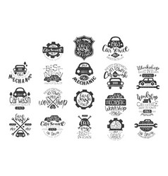 Set of vintage car emblems with hand vector