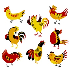 Set with decorative roosters Isolated farm pets vector image