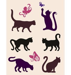 Six cat silhouettes vector