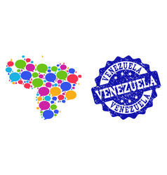 Social network map of venezuela with speech clouds vector