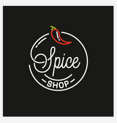 spice shop logo round linear logo chili pepper vector image