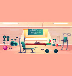 sport club gym interior cartoon background vector image