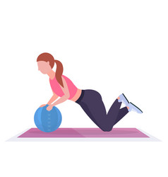 sporty woman doing crossfit exercises with vector image