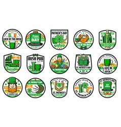 St patrick irish leprechaun shamrock beer icons vector