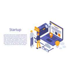 Startup concept banner isometric style vector