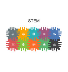 Stem cartoon template with flat elements contains vector