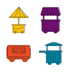 street shop cart icon set color outline style vector image