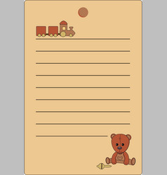tag with a teddy bear and a train of natural brown vector image
