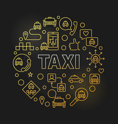 taxi concept round colorful outline vector image