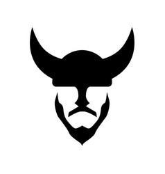 viking in a horned helmet - silhouette of vector image