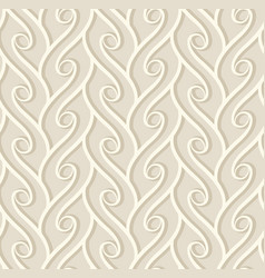 Vintage beige pattern with curly lines vector