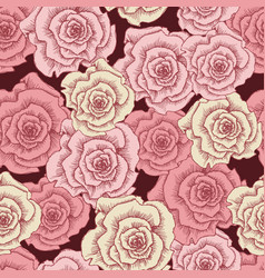 vintage pink roses seamless pattern template vector image vector image
