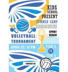Volleyball tournament in school summer camp poster vector