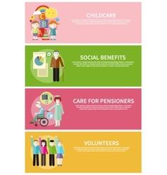 Volunteer childcare care pensioners social benefit vector