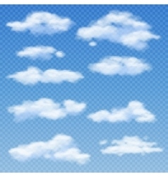 White clouds isolated on transparent blue vector
