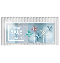 Winter sale window display background vector
