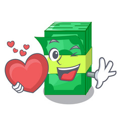 With heart stacks money dollar on bank character vector
