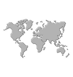 world map simple cartoon and outline style vector image