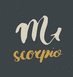 Zodiac sign scorpio and lettering hand drawn vector