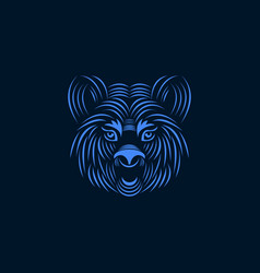 aggressive tiger face line art style illus vector image vector image