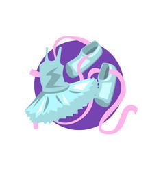ballet icon ballet shoes and tutu cartoon vector image