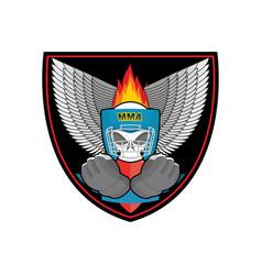 Boxing logo sports emblem skull and boxing gloves vector