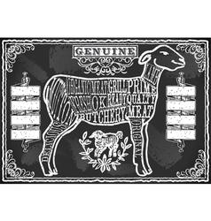 Cut of Lamb on Vintage Blackboard vector image vector image