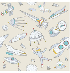 hand drawn doodle astronomy seamless pattern vector image