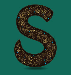 letter s with golden floral decor vector image