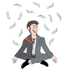 relaxing man get a money vector image vector image