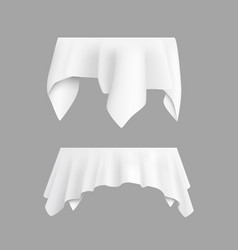 two white round with table tablecloth vector image