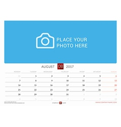Wall Monthly Calendar for 2017 Year August Design vector image