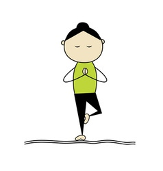 woman practicing yoga tree pose vector image vector image
