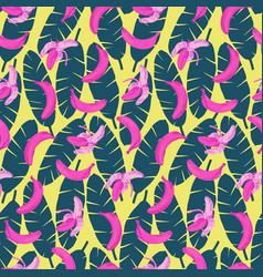 bananas and leaves seamless pattern vector image