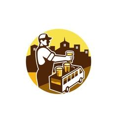 Bartender Beer City Van Circle Retro vector image
