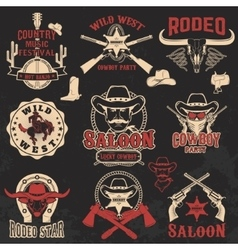 Cowboy rodeo wild west labels vector image vector image