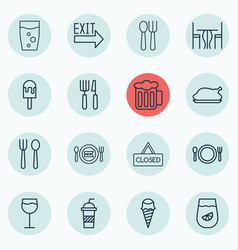 Set of 16 cafe icons includes wineglass soda vector