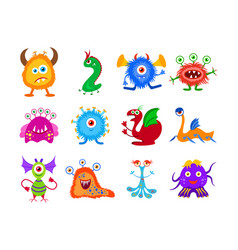funny fantasy monster collection vector image vector image