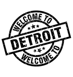 welcome to detroit black stamp vector image vector image